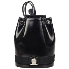 Ferragamo black Patent Leather Vara Backpack