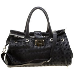Jimmy Choo Black Perforated Leather Rosa Flap Over Tote