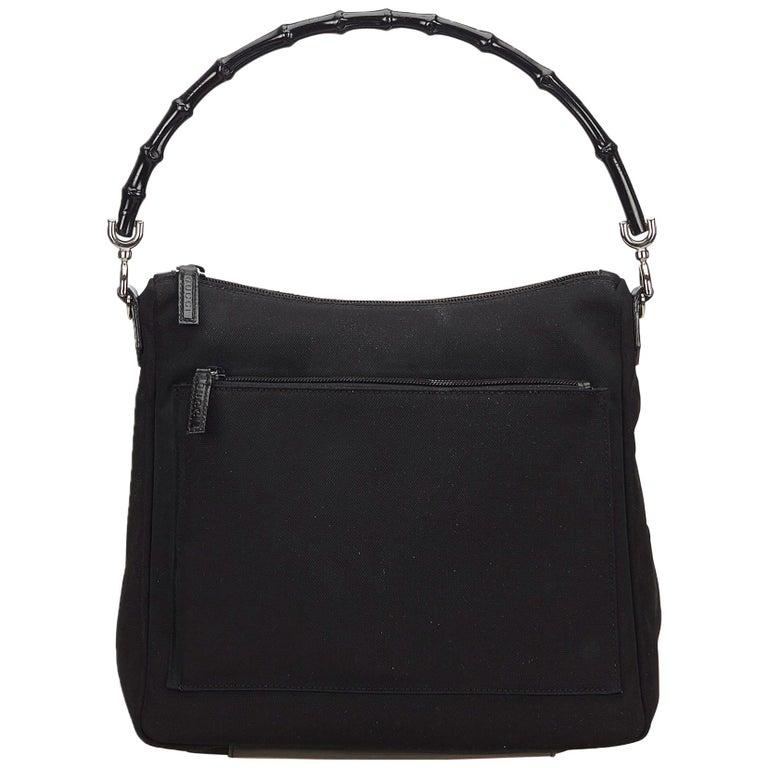 1e7102ded985 Gucci Black Bamboo Nylon Handbag For Sale at 1stdibs
