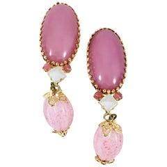 Schreiner Pink Glass Drop Earrings 1950s