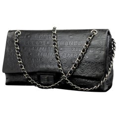 Chanel Extra Large Maxi Classic Double Flap 224657 Black Embossed Leather Should