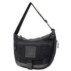 Chanel Messenger Cc Logo Sports 224491 Black X Grey Canvas Laptop Bag