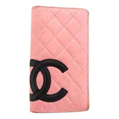 Chanel Pink X Black Cambon Quilted Long 218447 Wallet