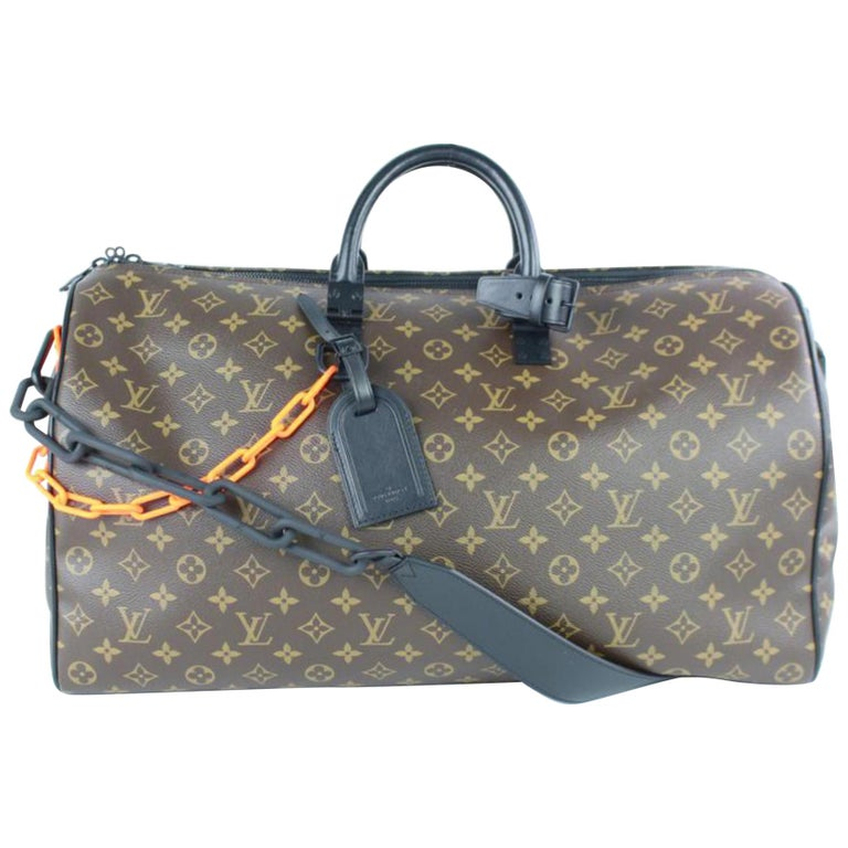 62771127d9ff Louis Vuitton Keepall Runway Virgil Abloh Ss19 Monogram Chain Bandouliere  50 3lz For Sale at 1stdibs