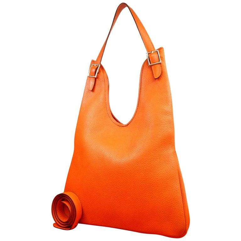 1e1829e720db Hermès Massai 219135 Orange Taurillon Clemence Shoulder Bag For Sale ...