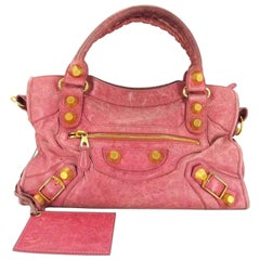 Balenciaga Giant City 218862 Pink X Gold Leather Satchel