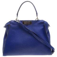 Fendi Blue Leather Small Peekaboo Top Handle Bag