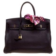 Hermes Dark Marron Togo Leather Gold Hardware Birkin 35 Bag