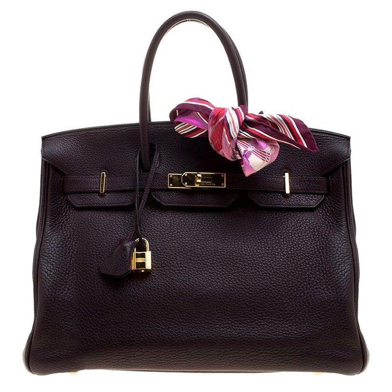 15b4dbc923b Hermes Dark Marron Togo Leather Gold Hardware Birkin 35 Bag For Sale ...