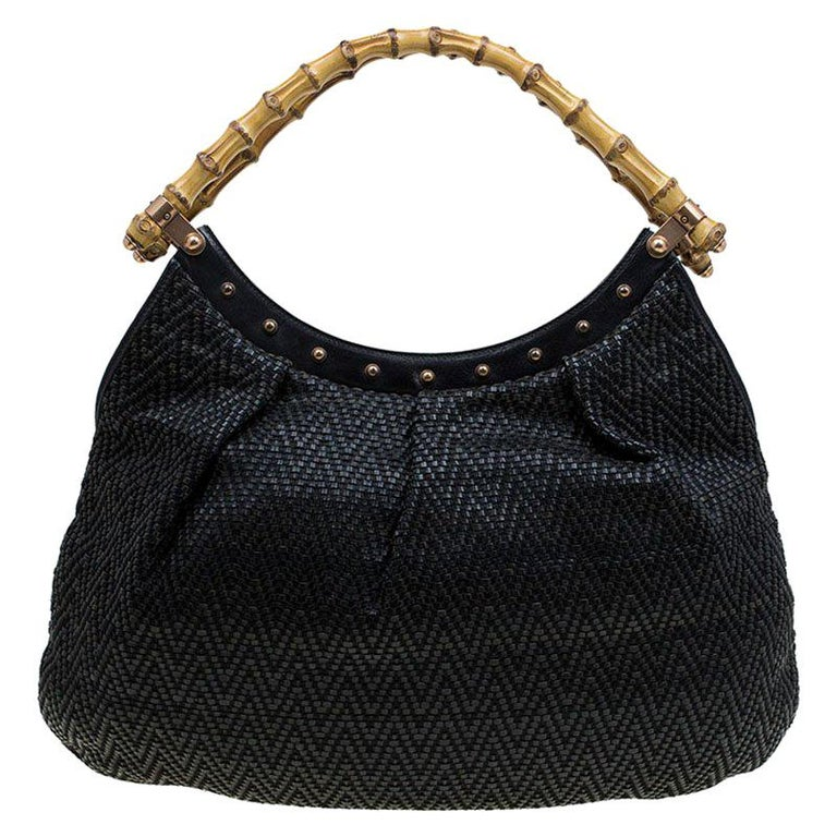 11ef7613a5b Gucci Black Woven Leather Bamboo Hobo For Sale at 1stdibs