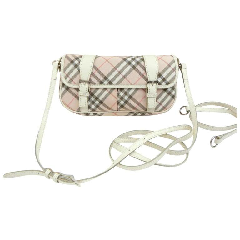 1dfbdaf04ac9 Burberry Blue Label Nova Check 231788 Pink Canvas Cross Body Bag For Sale.  Measurements  Length  ...