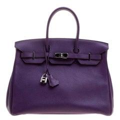 Hermes Ultraviolet Togo Leather Palladium Hardware Birkin 35 Bag