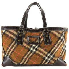 Burberry Nova Check 228601 Brown Wool Tote