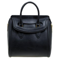 Alexander McQueen Black Leather Medium Heroine Tote