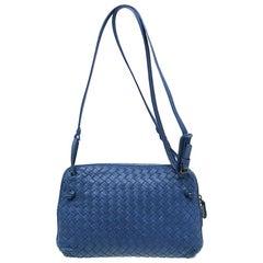 Bottega Veneta Blue Intrecciato Nappa Leather Crossbody Bag