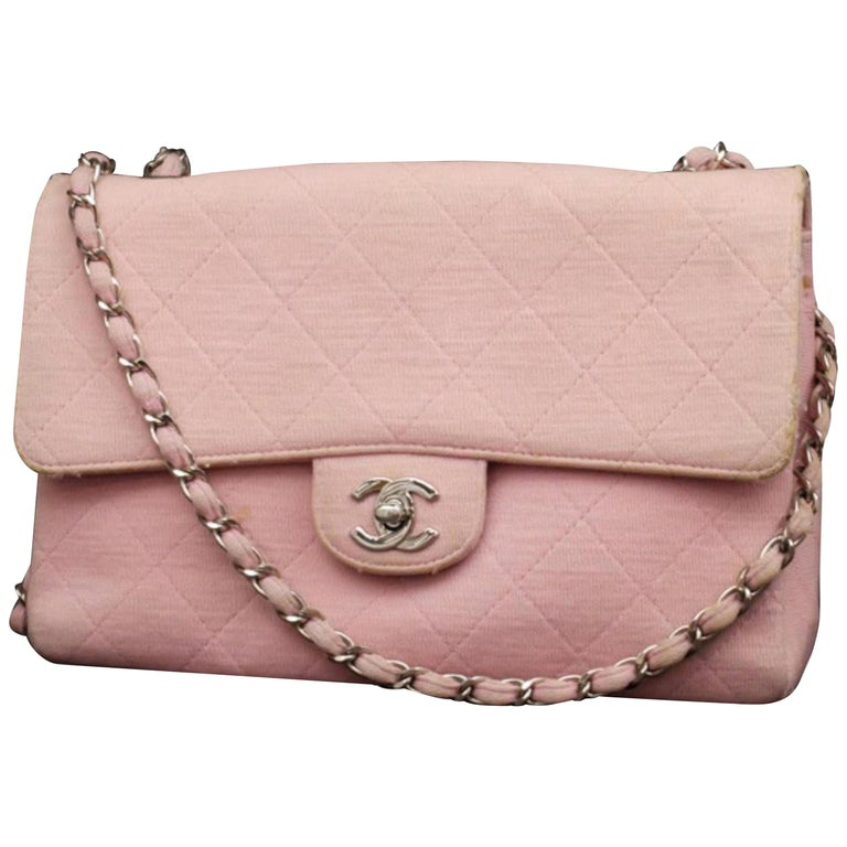 7abd87414503 Chanel Classic Flap Silver Quilted 232361 Pink Jersey Shoulder Bag For Sale