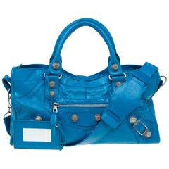 Balenciaga Turquoise Leather GSH Part Time Top Handle Bag