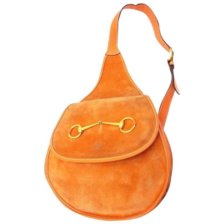 7017329a3211 Gucci Horsebit Burnt Body 228677 Orange Suede Leather Shoulder Bag For Sale