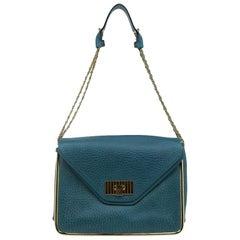 Chloe Green Pebbled Leather Medium Sally Flap Shoulder Bag