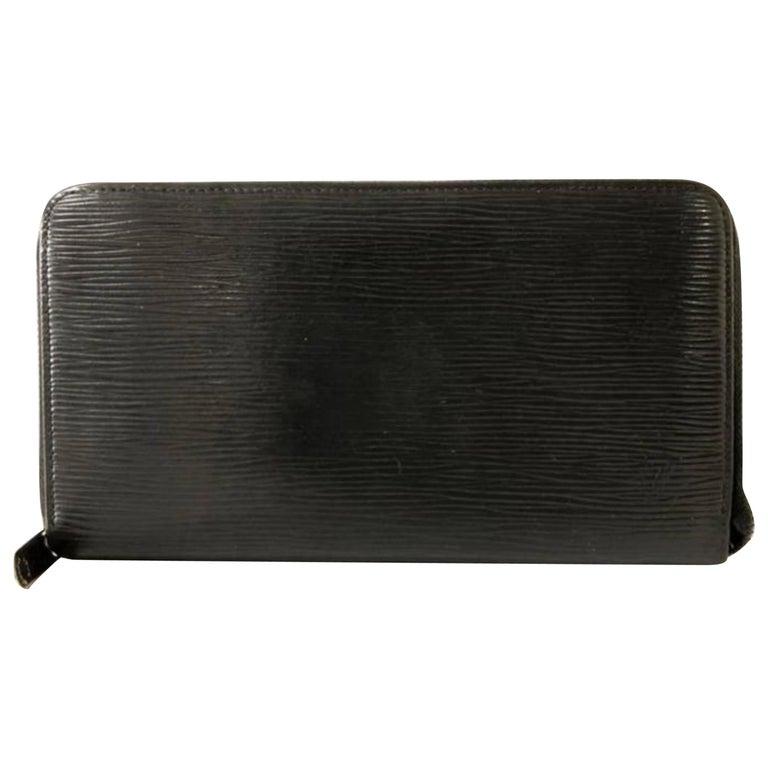 3119b8ec788a Louis Vuitton Noir Zippy Organizer Wallet 232061 Black Leather Clutch For  Sale
