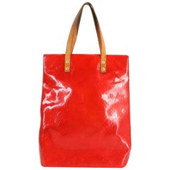 Louis Vuitton Reade Monogram Vernis Mm 232382 Red Patent Leather Tote