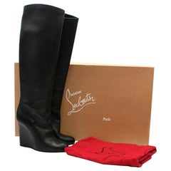 Christian Louboutin Zepita 100 Leather Wedge Boots US 9