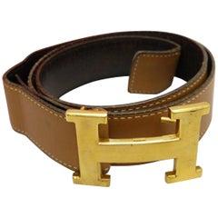 Hermès Brown 32mm Reversible H Lobo Kit 226876 Belt