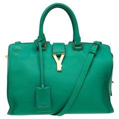 Saint Laurent Paris grün Leder kleine Ligne Y Cabas Shopper
