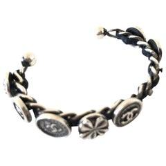 Chanel Black 96p Clover Cc Charm Cuff Chain 232011 Bracelet