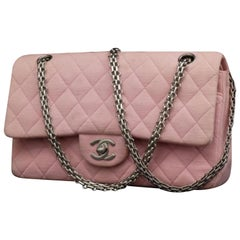 a91f9f46fa64 Chanel Mademoiselle Classic Flap Medium Quilted 231621 Pink Cotton Shoulder  Bag