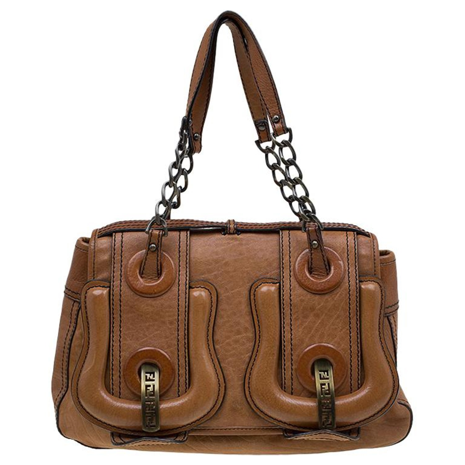 71f28d16f0 Fendi Brown Leather Trim B Tote For Sale at 1stdibs