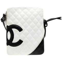 Chanel Messenger Cambon Quilted Ligne 228758 White Leather Cross Body Bag 1549fb9a2923e