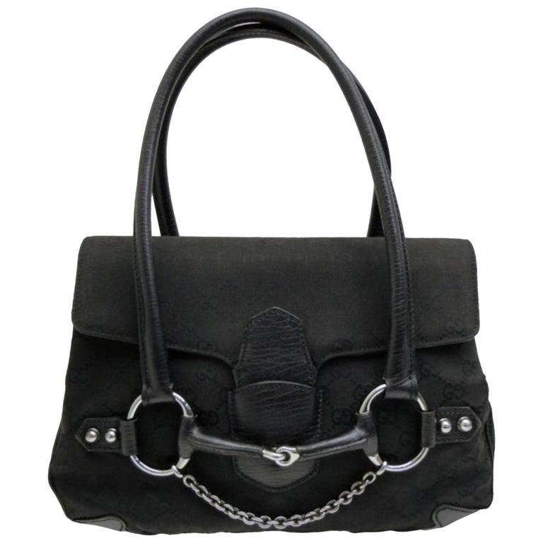 10b95383c011 Gucci Horsebit Monogram Chain Satchel 231789 Black Canvas Shoulder Bag For  Sale