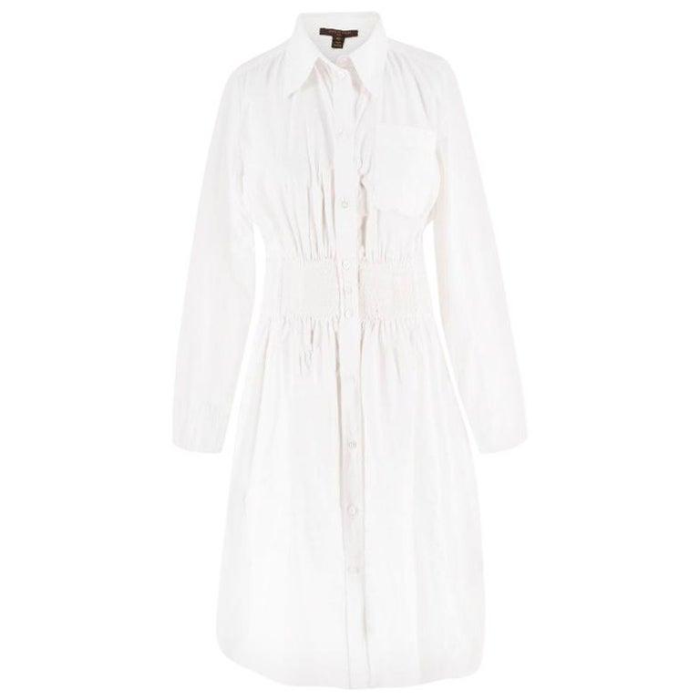 e50754ad544 Louis Vuitton White Ruffle Shirt Dress US 8 For Sale at 1stdibs