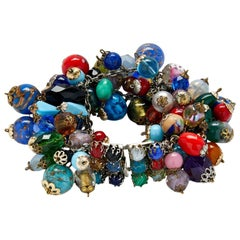 Christian Dior 1959 Cluster Bracelet With Venetian Glass Charms