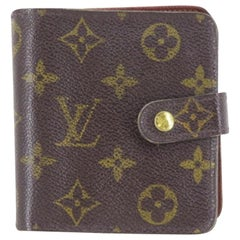 Louis Vuitton Brown Monogram Compact Zip 219769 Wallet