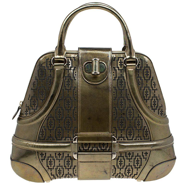 Alexander Mcqueen Gold Perforated Patent Leather Novak Satchel For Sale
