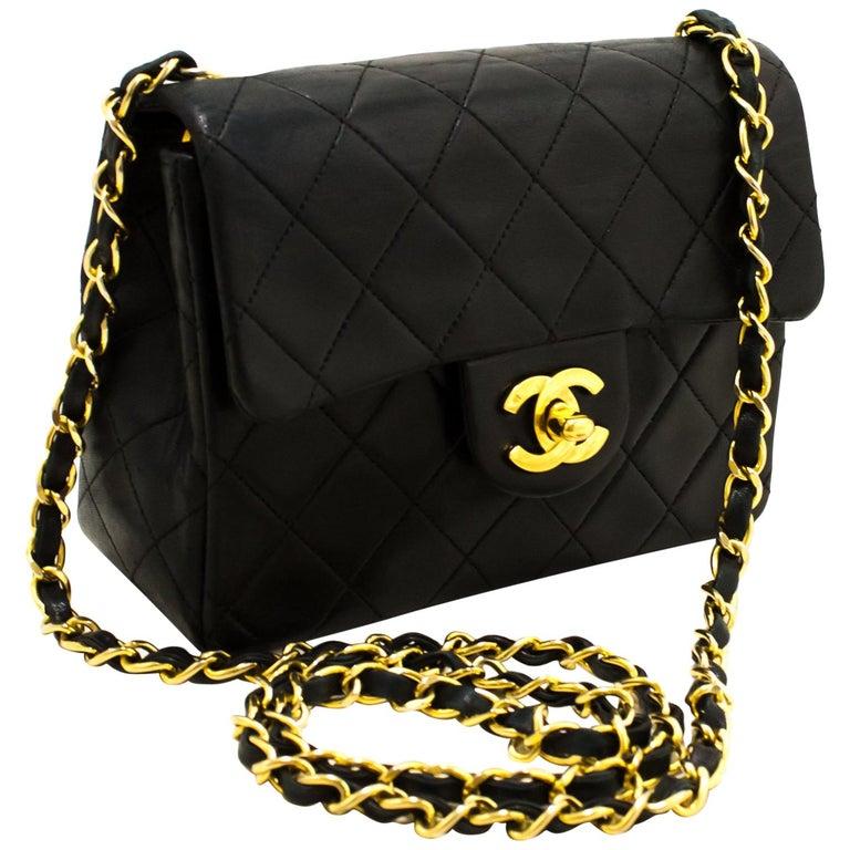8a1c27a1a58c CHANEL Mini Square Small Chain Shoulder Crossbody Bag Black For Sale ...