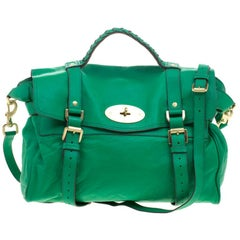 Mulberry Green Leather Oversized Alexa Satchel