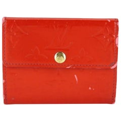 Louis Vuitton Red Monogram Vernis Card Case 226250 Wallet