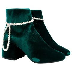 MM6 Maison Margiela Embellished Velvet Ankle Boots US 6.5