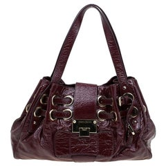 Jimmy Choo Burgundy Crinkled Patent Leather Small Riki Tote