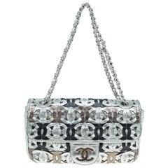 Chanel Metallic Silver Leather CC Cutout Flap Handbag