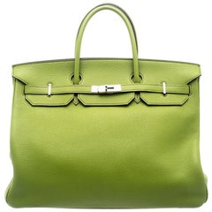Hermes Pistacio Green Togo Leather Palladium Hardware Birkin 40 Bag