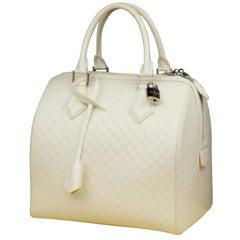 Louis Vuitton Speedy Damier Facette Cube 225784 White Patent Leather Satchel
