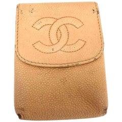 Chanel Beige Cc Logo Caviar Pouch 216757