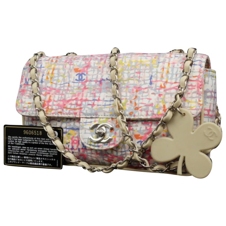 e677e5ef3aca Chanel Limited Edition Watercolor Clover Charm Flap 226033 Shoulder Bag For  Sale