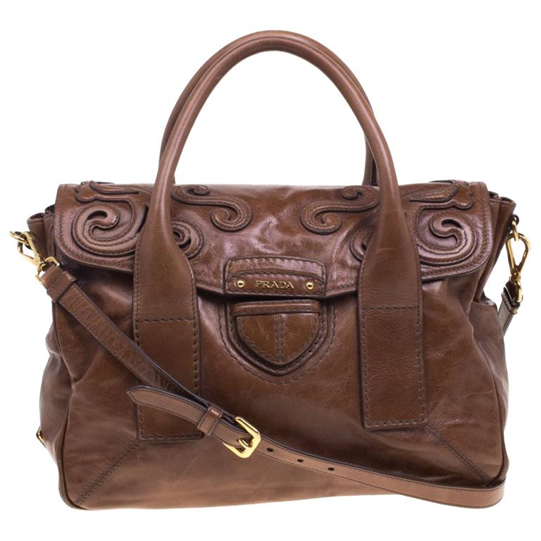 92c2994168 Prada Brown Glazed Leather Top Handle Bag For Sale at 1stdibs