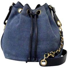 Chanel Drawstring Hobo Denim Chain 226197 Blue X Black Coated Canvas ShoulderBag