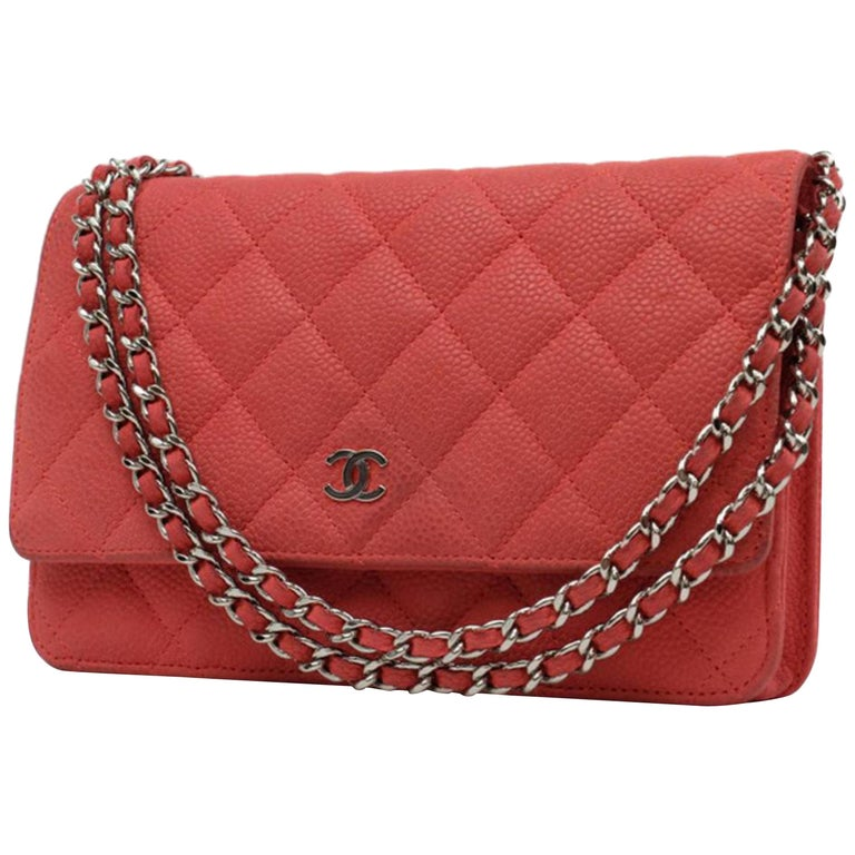be12d7e3fd92 Chanel Wallet on Chain Quilted Caviar 219717 Red Leather Shoulder Bag For  Sale